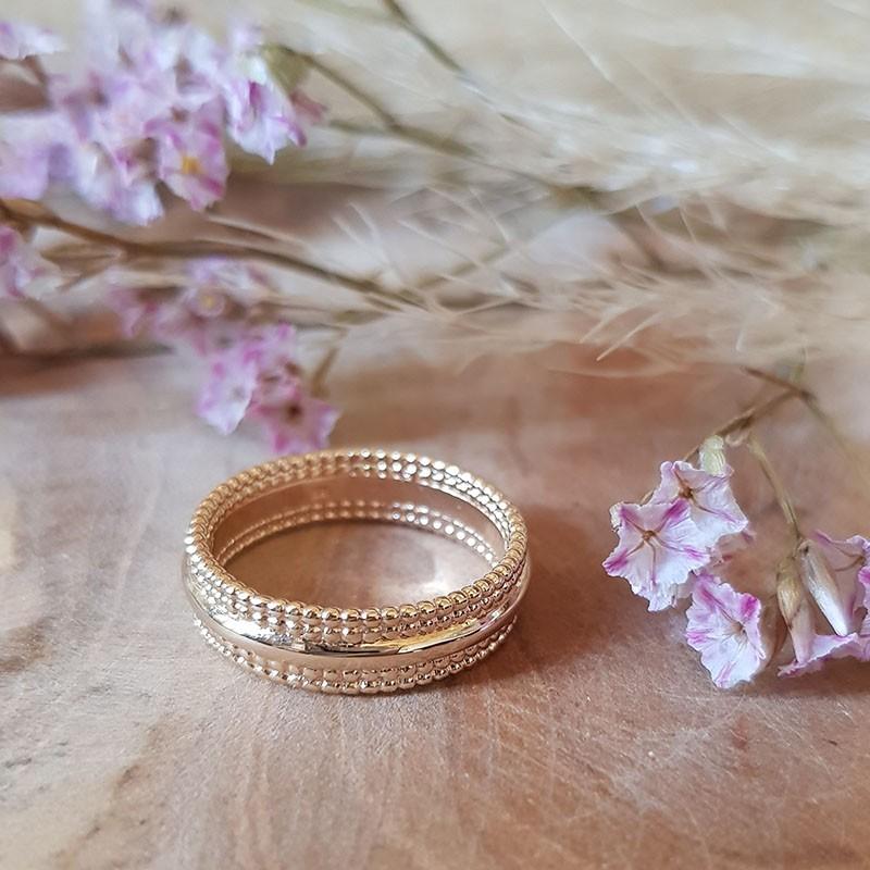 Bague anneau perlé