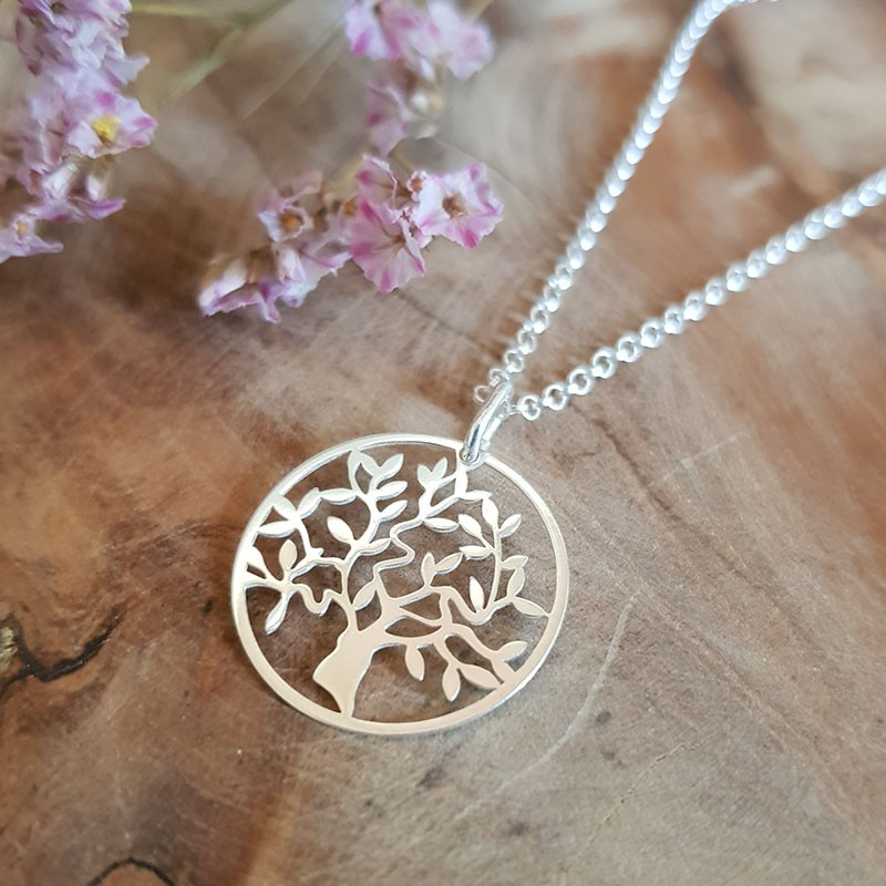 Collier pendentif arbre de vie 20 mm argent