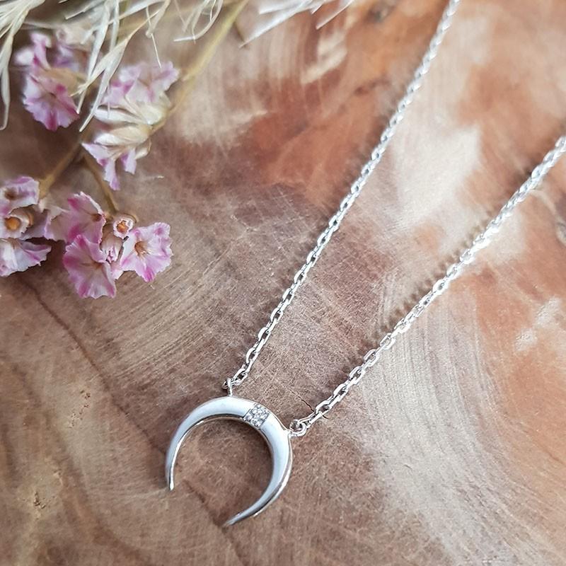 Collier petite lune argent et zircon