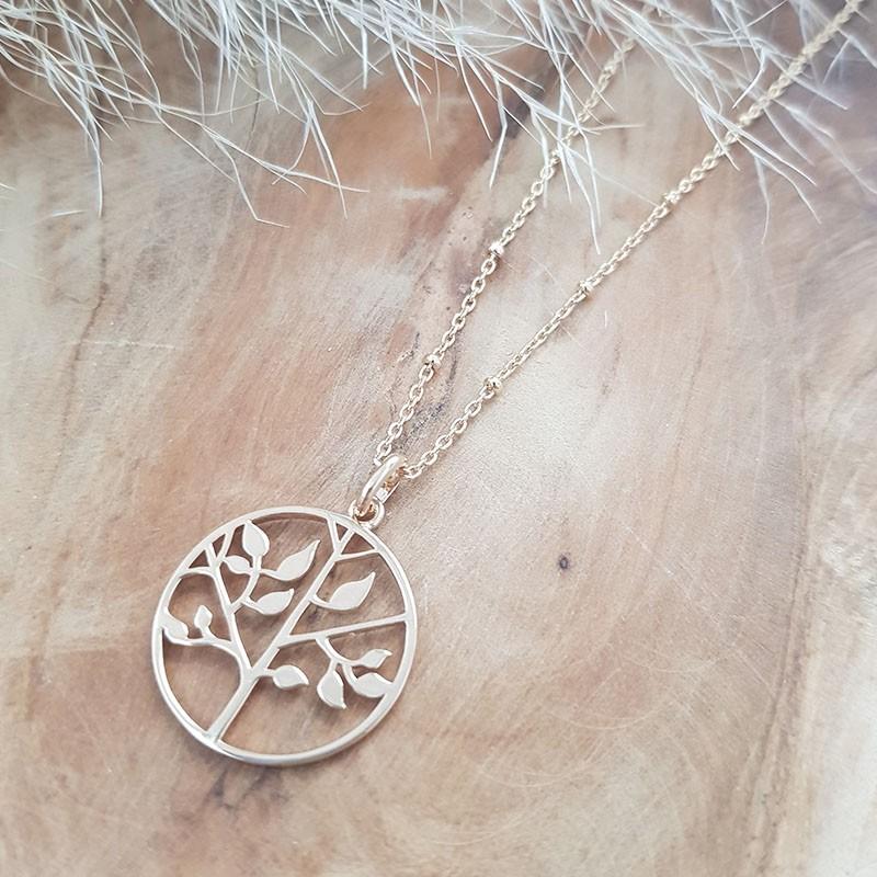 Collier pendentif arbre de vie 20 mm plaqué or