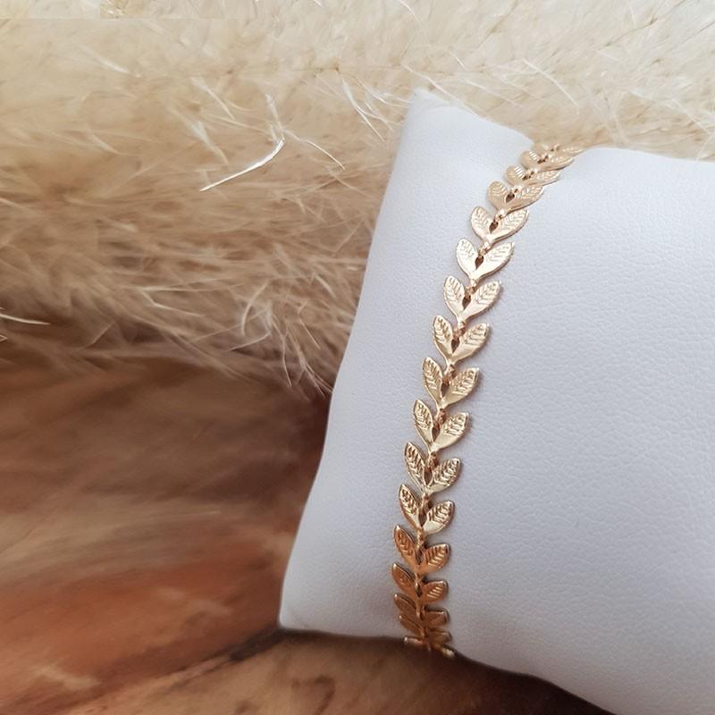 Bracelet feuilles laurier plaqué or