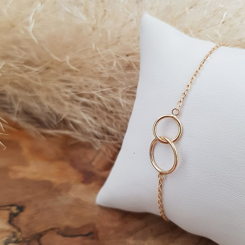 Bracelet anneaux entrelacés plaqué or