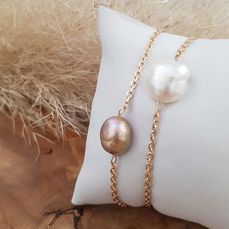 Bracelet perle eau douce plaqué or