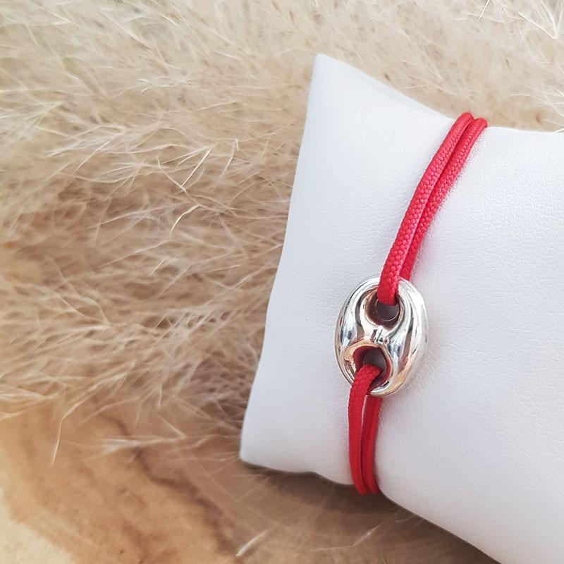 Bracelet homme cordon grain de café en argent