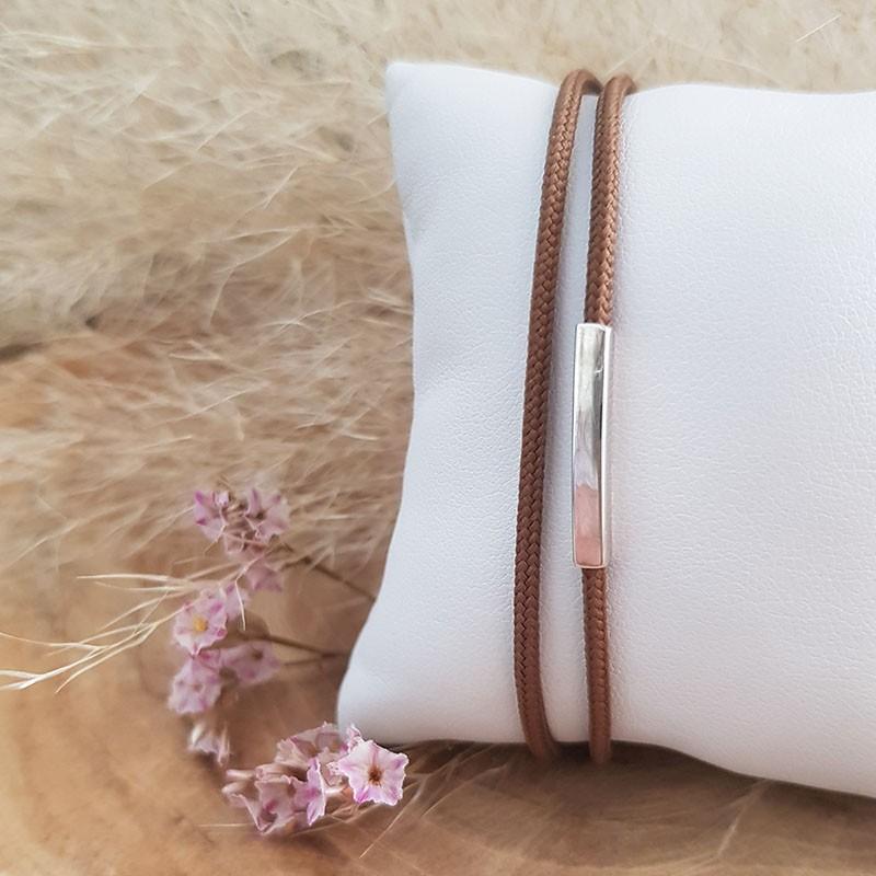 Bracelet homme cordon tube en argent