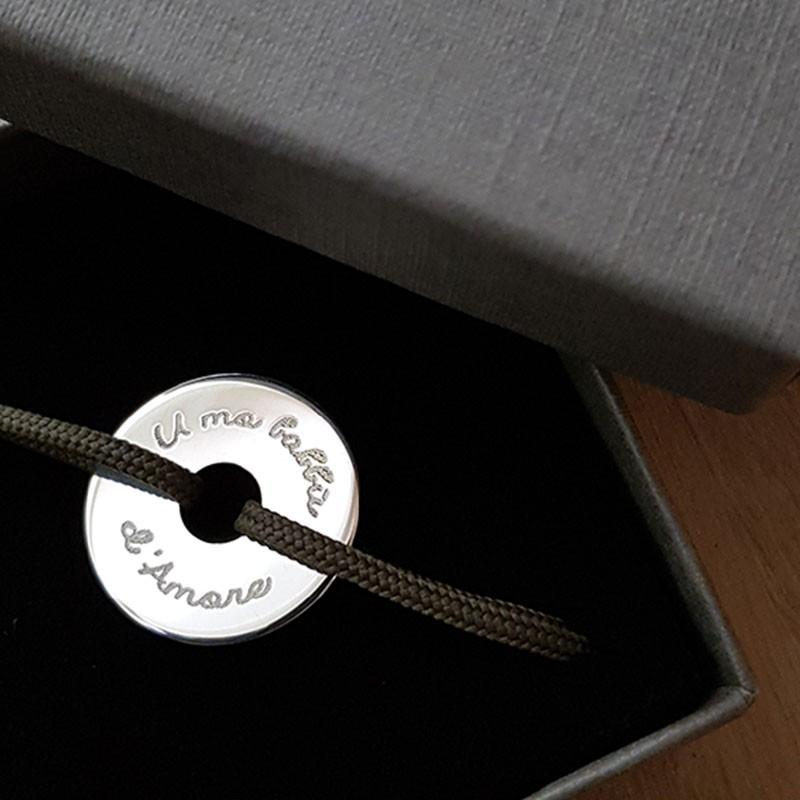 Bracelet homme cordon cible personnalisable en argent