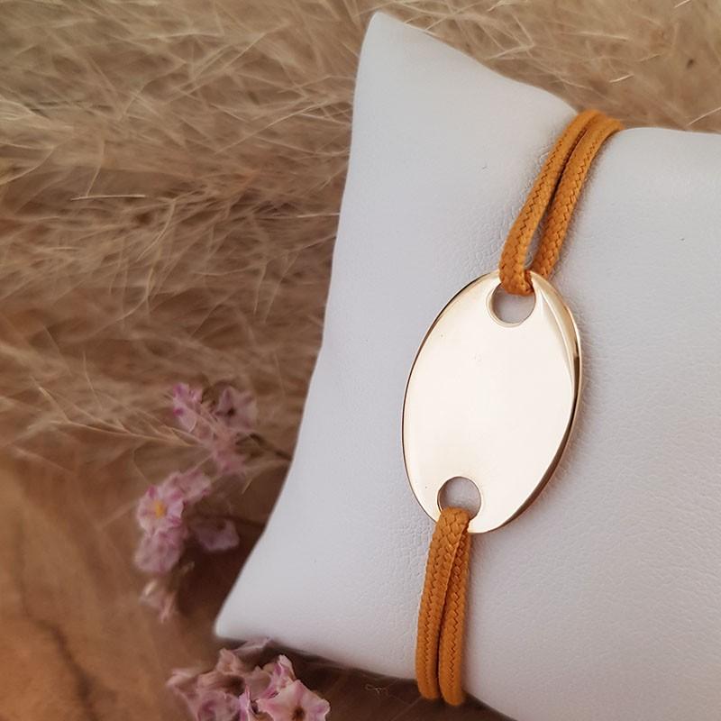 Bracelet homme cordon médaille ovale personnalisable plaqué or