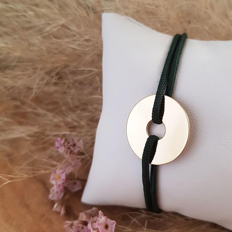 Bracelet homme cordon cible personnalisable en plaqué or