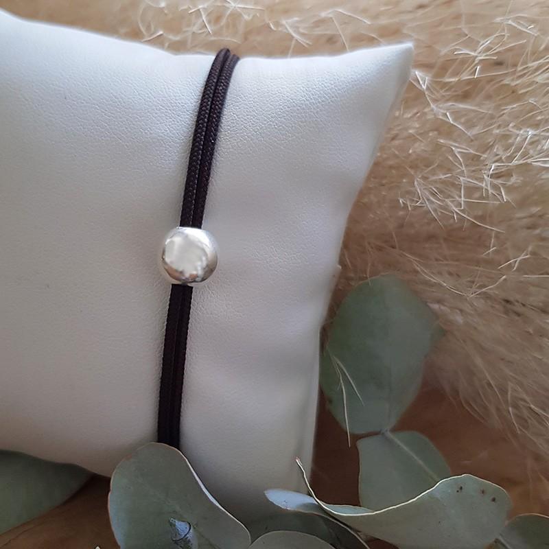 Bracelet homme cordon perle en argent
